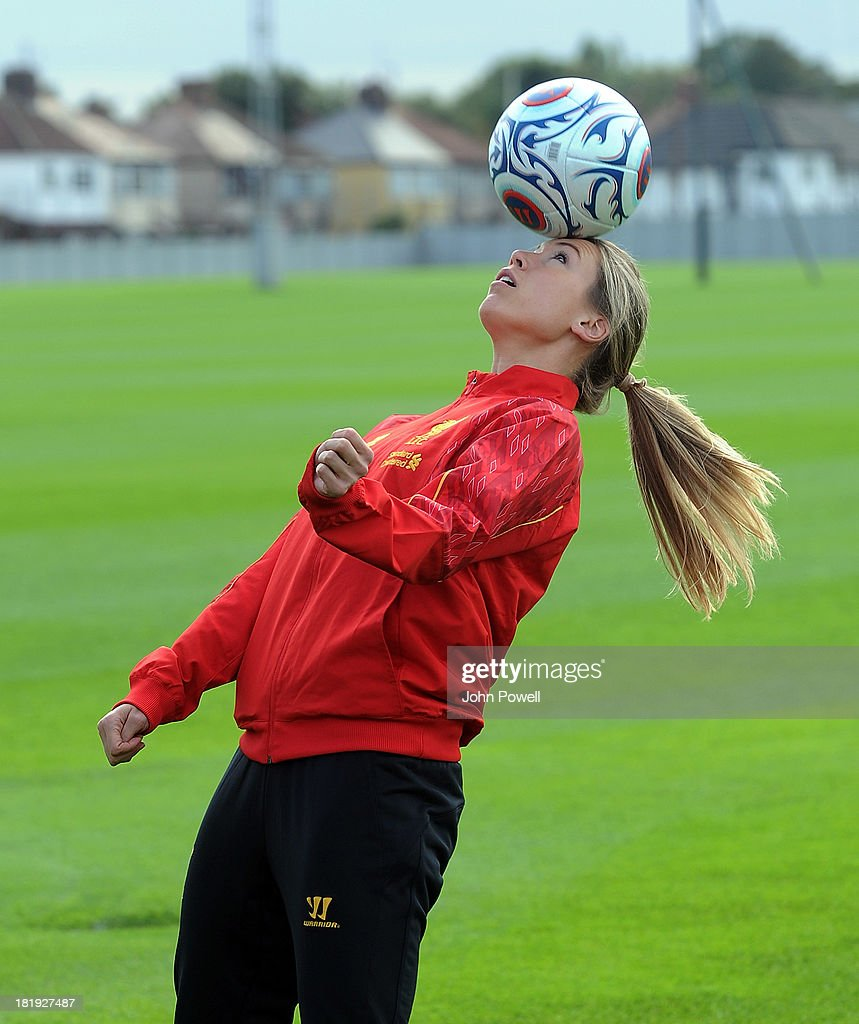 Whitney Engen of Liverpool FC Ladies with attends a training sesssion at Melwood Training Ground on September 26, 2013 in Liverpool, England.
