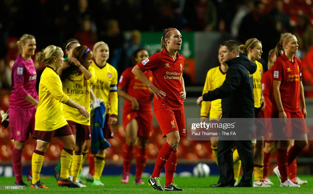 <a gi-track='captionPersonalityLinkClicked' href=/galleries/search?phrase=Whitney+Engen&family=editorial&specificpeople=7489472 ng-click='$event.stopPropagation()'>Whitney Engen</a> (C) of Liverpool reacts at full time of the Womens FA Cup Semi Final match between Liverpool Ladies FC and Arsenal Ladies FC at Anfield on April 26, 2013 in Liverpool, England.