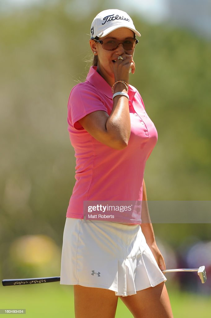 Whitney Hillier of Australia reacts on the first green during the Australian Ladies Masters at Royal Pines Resort on February 2, 2013 on the Gold Coast, Australia.