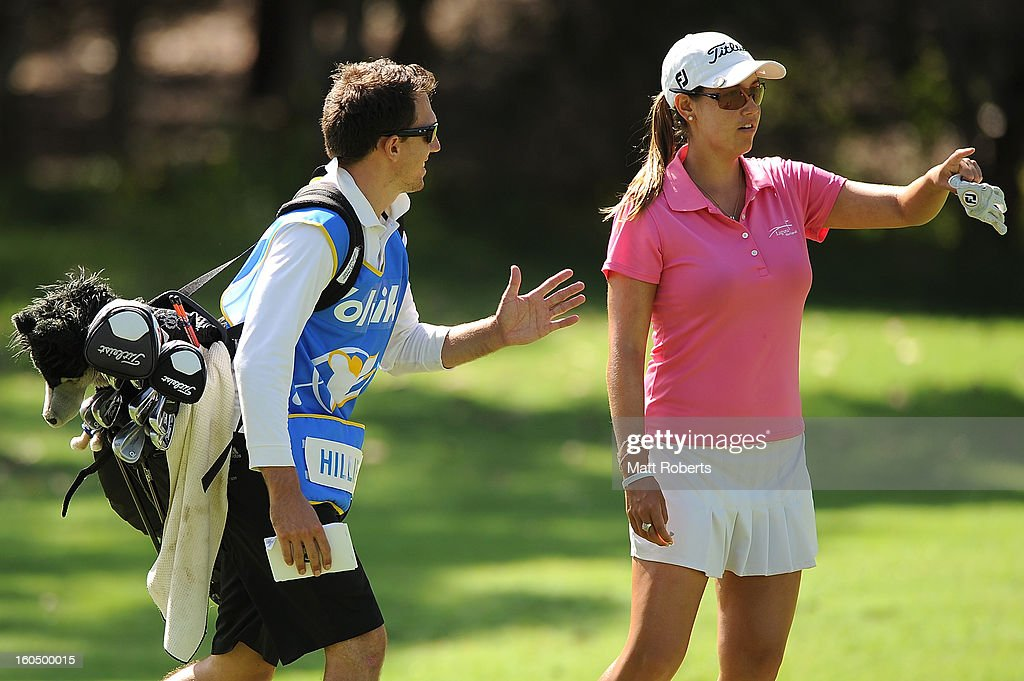 Whitney Hillier of Australia speaks with her caddie on the 15th hole fairway during the Australian Ladies Masters at Royal Pines Resort on February 2, 2013 on the Gold Coast, Australia.