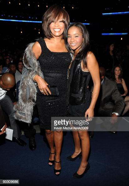 LOS ANGELES CA NOVEMBER 22 *EXCLUSIVE* Whitney Houston and Bobbi Kristina Brown at the 2009 American Music Awards at Nokia Theatre LA Live on...