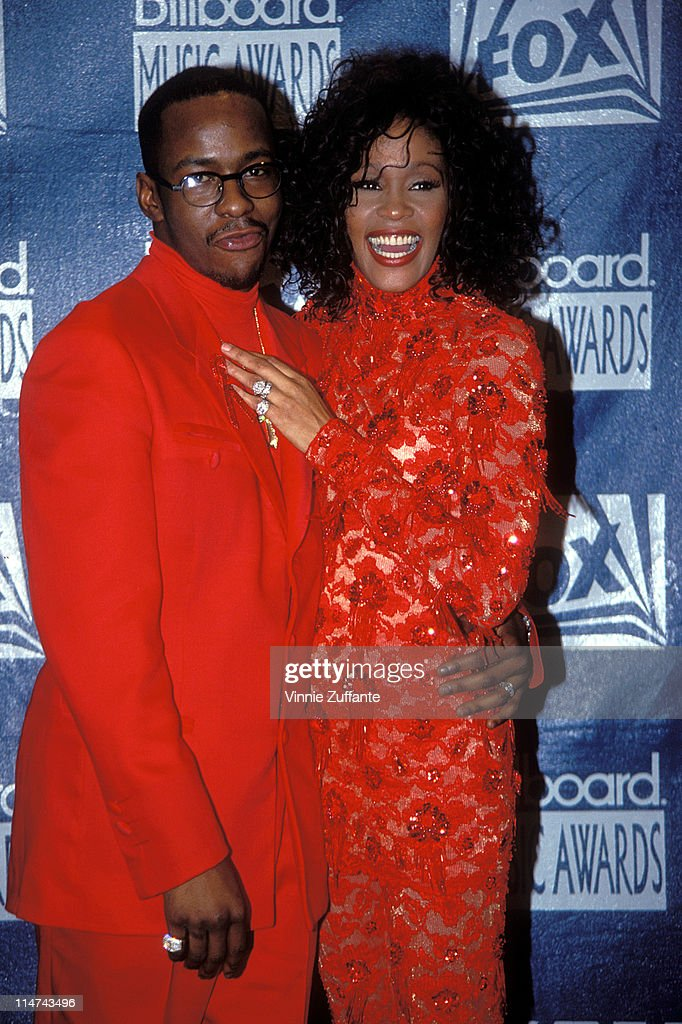 Whitney Houston and Bobby Brown attending the 1993 Billboard Music Awards.