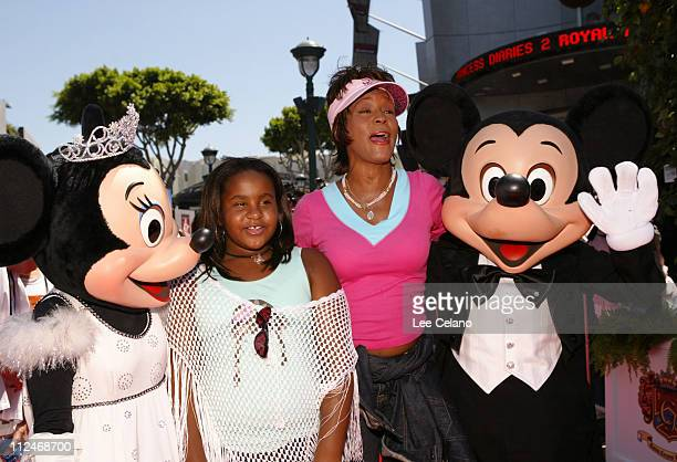 Whitney Houston and her daughter Bobbi Kristina with Minnie Mouse and Mickey Mouse