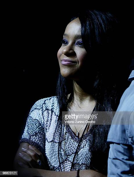 Whitney Houston daughter Bobbi Kristina attends the concert of Withney Houston held at Mediolanum Forum on May 3 2010 in Milan Italy