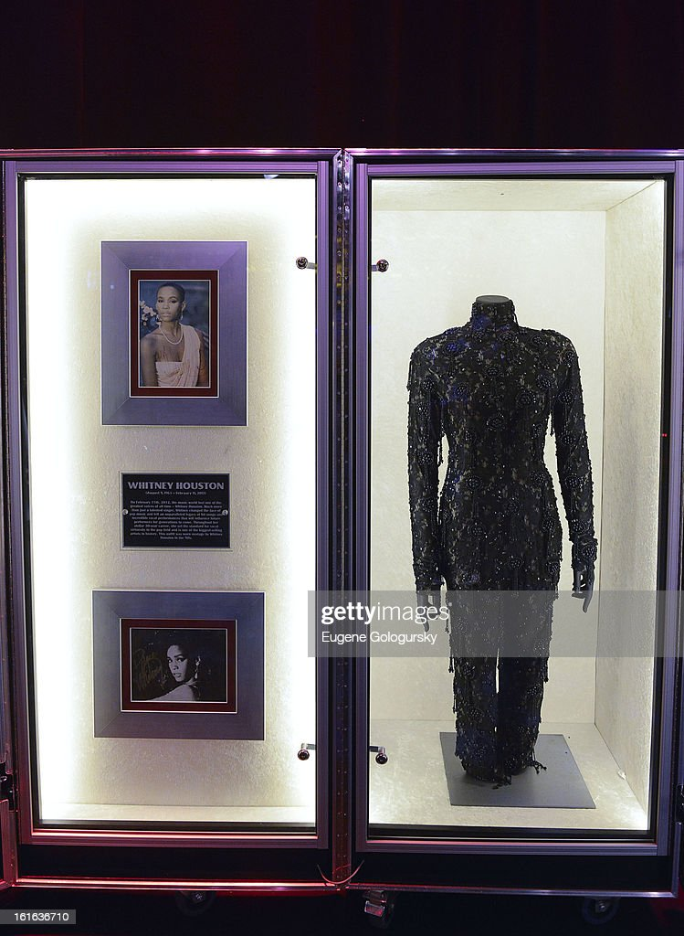 Whitney Houston memorabilia at the 'Gone Too Soon' and 'Music Gives Back' Media Preview Day at the Hard Rock Cafe, Times Square on February 13, 2013 in New York City.