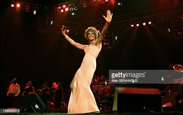 Whitney Houston performing at Paris Bercy concert hall on June 6 1998 in Paris France