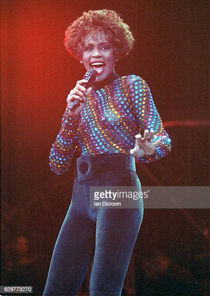 Whitney Houston performing on stage at Wembley Arena London 03 September 1991