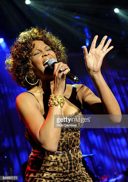 Whitney Houston performs at the 2009 GRAMMY Salute To Industry Icons honoring Clive Davis at the Beverly Hilton Hotel on February 7 2009 in Beverly...