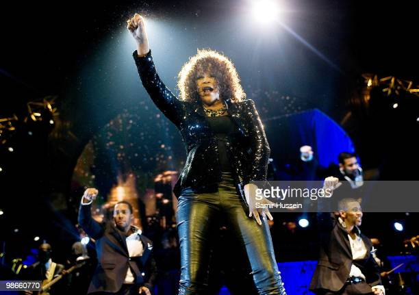 Whitney Houston performs at the O2 Arena on April 25 2010 in London England