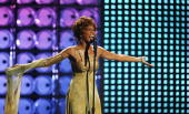 SEPTEMBER 15 Whitney Houston performs on stage at the 2004 World Music Awards at the Thomas Mack Centre on September 15 2004 in Las Vegas
