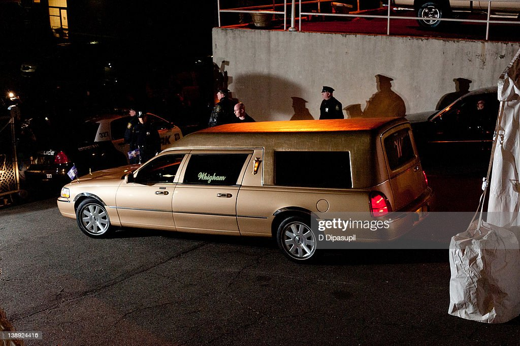 Whitney Houston's body arrives at Whigham Funeral Home ahead of her funeral in New Jersey on February 13, 2012 in Newark, New Jersey.