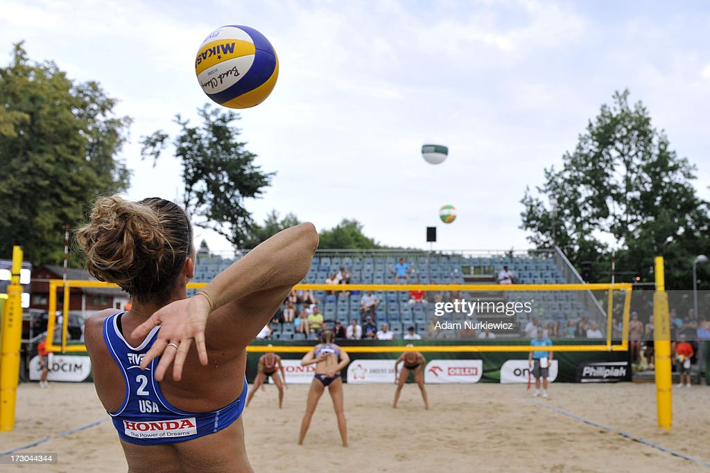 Whitney Pavlik from USA serves during the quarterfinal match between USA and Austria during Day 5 of the FIVB World Championships on July 5, 2013 in Stare Jablonki, Poland.