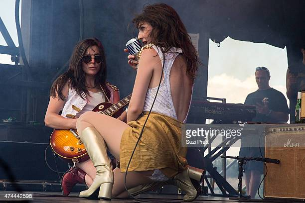 Whitney Petty and Molly Sides of Thunderpussy perform at the Sasquatch Music Festival at The Gorge on May 22 2015 in George Washington