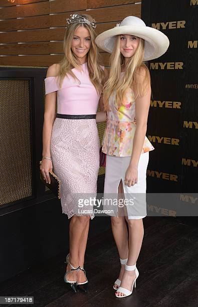 Whitney Port and Jennifer Hawkins attend the Myer marquee during Oaks Day at Flemington Racecourse on November 7 2013 in Melbourne Australia