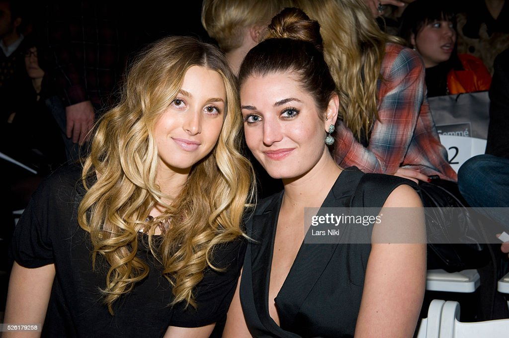 Whitney Port and Samantha Swetra attend the 'Charlotte Ronson' fashion show at Bryant Park during Mercedes Benz fashion week in New York City