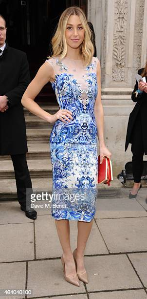 Whitney Port arrives at the Julien Macdonald show during London Fashion Week Fall/Winter 2015/16 at British Foreign and Commonwealth Office on...