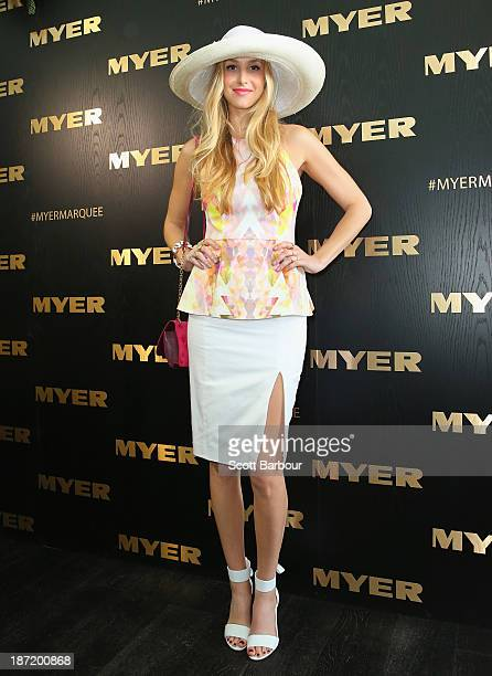 Whitney Port attends the Myer marquee during Oaks Day at Flemington Racecourse on November 7 2013 in Melbourne Australia