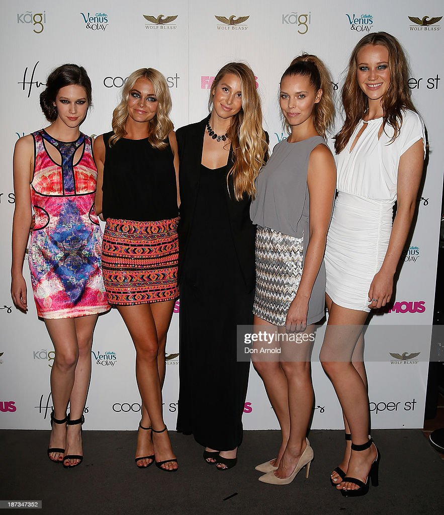 <a gi-track='captionPersonalityLinkClicked' href=/galleries/search?phrase=Whitney+Port&family=editorial&specificpeople=544473 ng-click='$event.stopPropagation()'>Whitney Port</a> poses alongside models at the Cooper St. 25th Anniversary celebration at Hugo's Lounge on November 8, 2013 in Sydney, Australia.