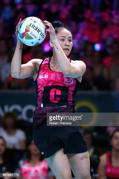 Whitney Souness of New Zealand gathers the ball during the Fast5 World Series Netball match between Australia and New Zealand at Hisense Arena on...
