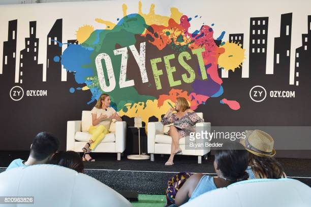 Whitney Wolfe and Journalist Katie Couric speak onstage during OZY FEST 2017 Presented By OZYcom at Rumsey Playfield on July 22 2017 in New York City