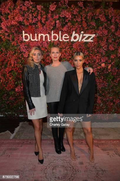 Whitney Wolfe Herd Erin Foster and Kim Kardashian attend Bumble Bizz Los Angeles Launch Dinner At Nobu Malibu at Nobu Malibu on November 15 2017 in...