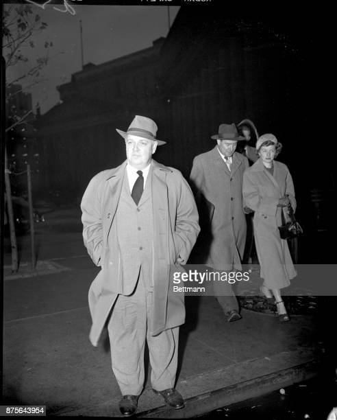 Whittaker Chambers prosecution's star witness against Alger Hiss in the former State Department official's second perjury trial is pictured outside...