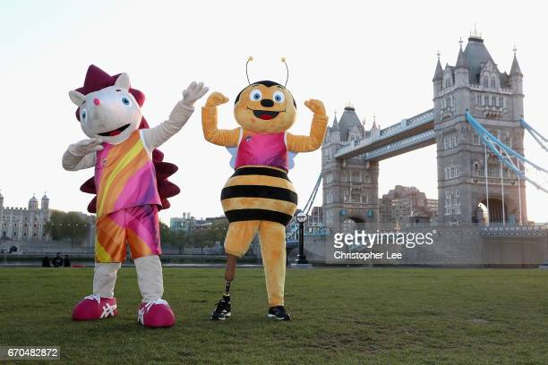 Whizbee the Bee mascot for the World Para Athletics Championships and Hero the Hedgehog mascot for the IAAF World Championships London 2017 pose for...