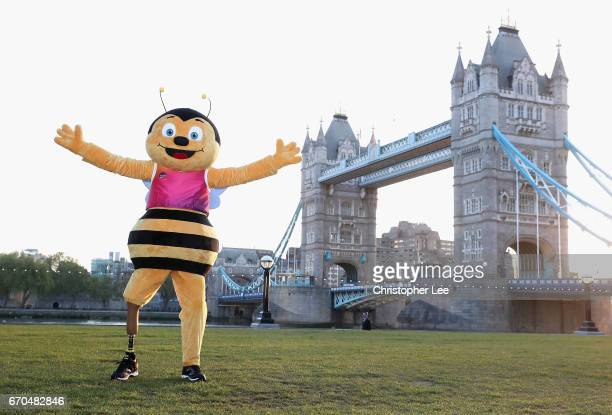 Whizbee the Bee mascot for the World Para Athletics Championships London 2017 poses for pictures at Tower Bridge on April 19 2017 in London England...