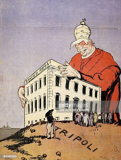 Who will help Tripoli satirical cartoon dedicated to the Libyan War and the interests of the Bank of Rome and Pope Pius X Italy 20th century