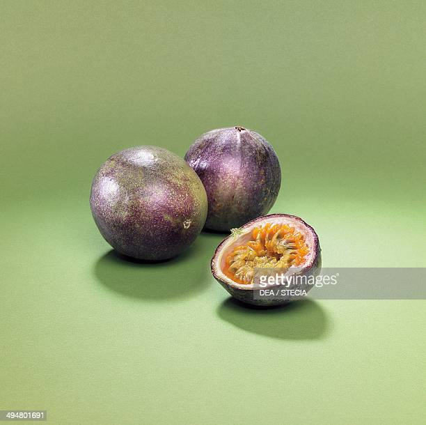 Whole and cut passion fruit