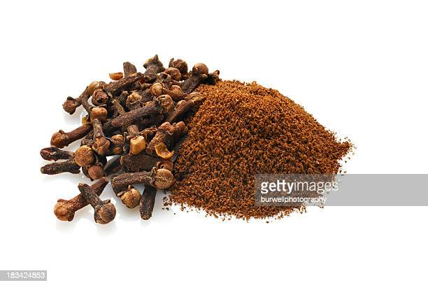 Whole and Ground Cloves, Isolated on White