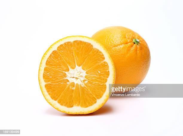 Whole and half orange