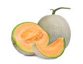 whole and half with slice of japanese melons, orange melon or cantaloupe melon isolated on white background
