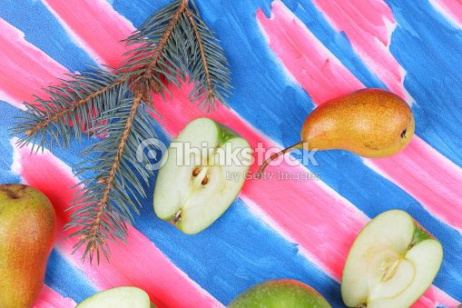 Christmas Pears.Whole And Sliced Green Apples Yellow Pears Peach And Pink