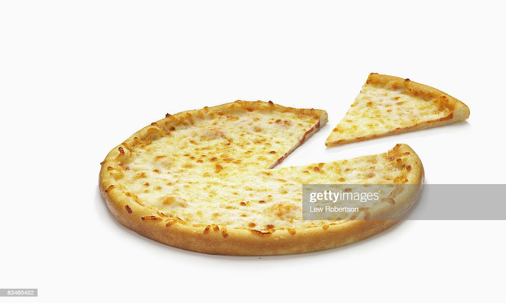 Whole cheese Pizza and Slice : Stock Photo