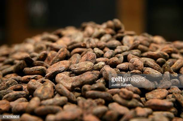 Whole cocoa beans sit in a bean room at Dandelion Chocolate on March 17 2014 in San Francisco California A new study sponsored by the National Heart...