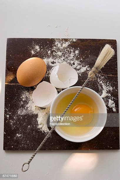Whole egg, egg yolk, eggshells, flour and pastry brush