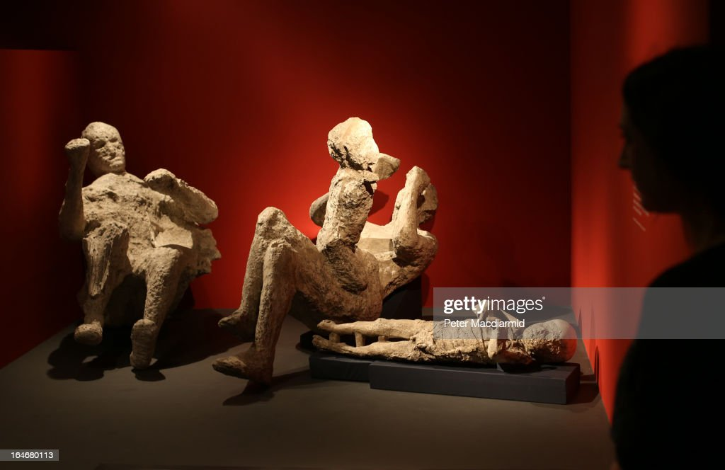 A whole family killed at Pompeii is displayed at the Life And Death In Pompeii And Herculaneum exhibition at The British Museum on March 26, 2013 in London, England. The exhibition runs from March 28 to September 29, 2013.