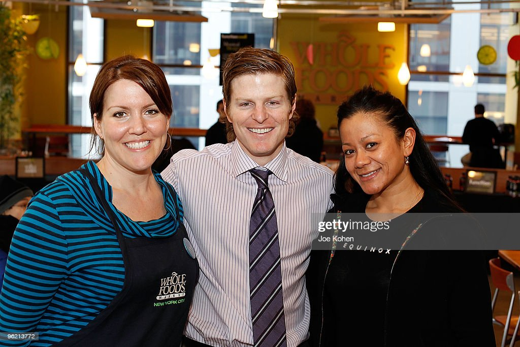 Whole Foods Market Tribeca marketing team leader Allison Thomas, Co founder and president of Function Drinks Dr. Alex Hughes and Equinox Tribeca Spa manager and therapist Geraldine Abergas attend Function Drinks, Whole Foods Market, and Equinox event 'Function: Well. 30 TIPS for 30 DAYS' free kickoff event in Tribeca at Whole Foods on January 27, 2010 in New York City.