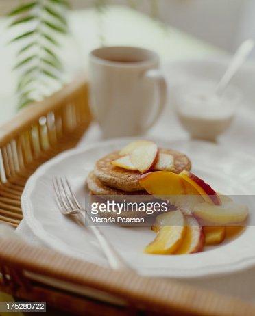 Whole grain pancakes : Stock Photo