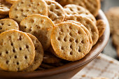 Whole Grain Wheat Round Crackers in a Bowl
