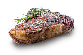 Whole grilled T-bone steak with rosemary isolated on white background