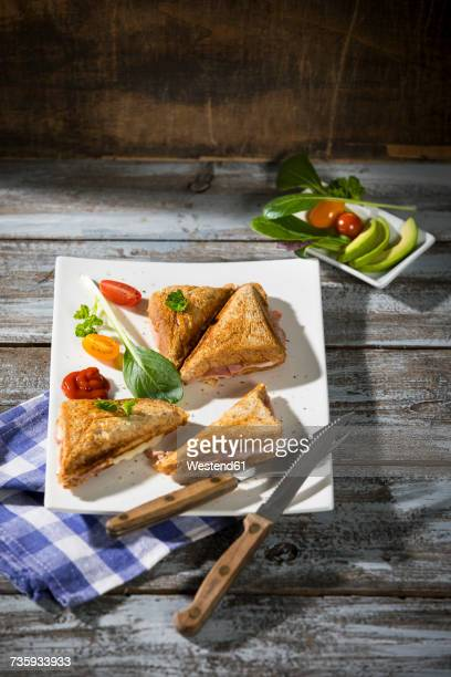 Whole meal sandwich with ham and cheese