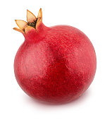 Whole pomegranate isolated on a white. Full depth of field.
