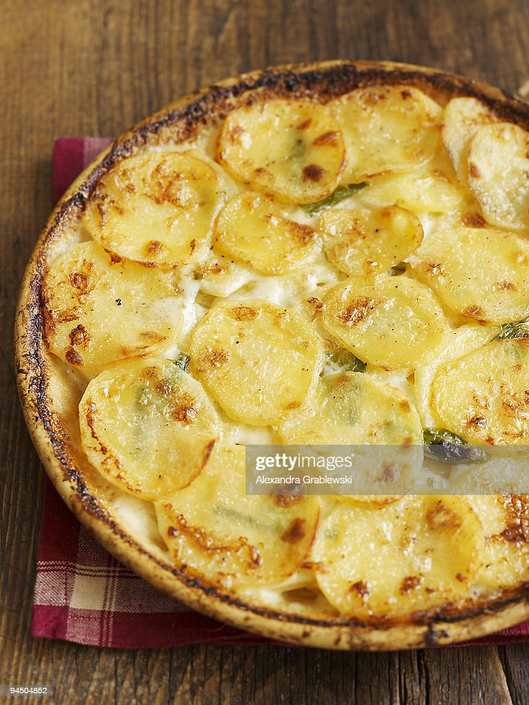 Whole Potato Gratin with Green Garlic