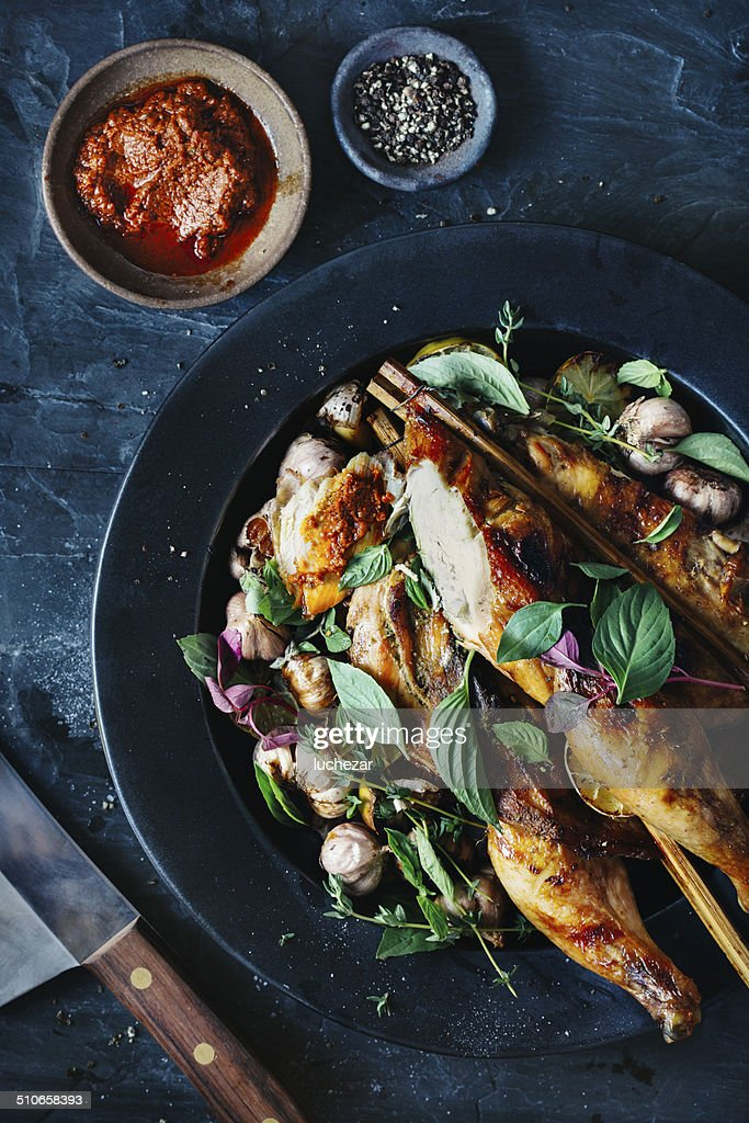 Whole roasted chicken : Stock Photo