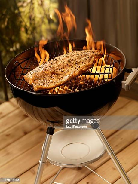 Whole Salmon Fillet on an outdoor BBQ