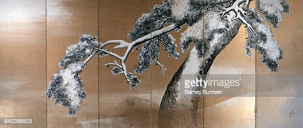 Whole View of Right Screen from Pine Trees in Snow by Maruyama Okyo