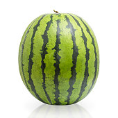 Whole watermelon isolated on white background