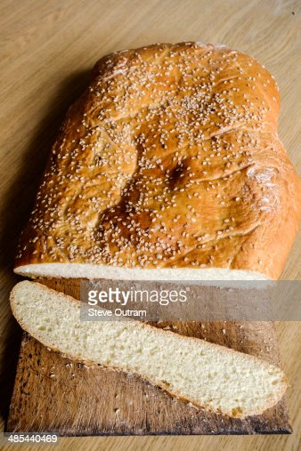 Whole wheat Greek flatbread lagana : Stock Photo